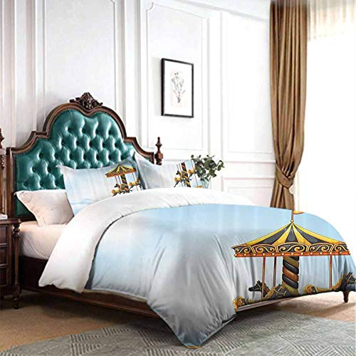 Hiiiman Bedding Cover Set 4pcs Carousel Ride Amusement Park Platform Carnival Circus Horse Roundabout Full Size W79 INCH x L90 INCH Comforter and Two Pillowcase