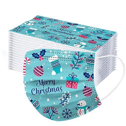 Erwachsene 50 Stück Einweg Mundschutz Multifunktionstuch Bandana Face Cover Maske 3-lagig Staubdicht Atmungsaktiv Mund-Nasen Bedeckung Halstuch Schals (Weihnachten-F)