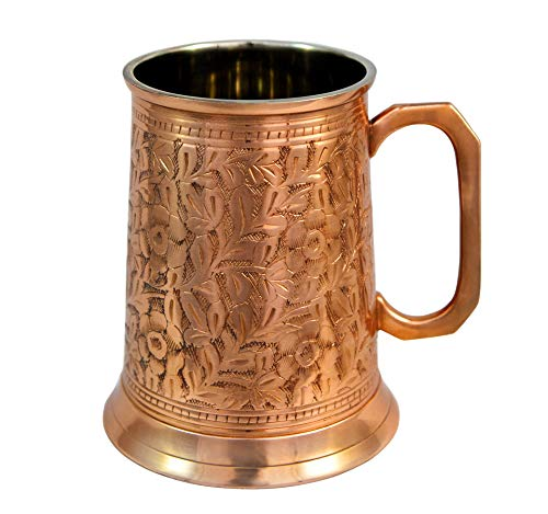 Copper German Beer Stein – Handcrafted Copper Antique Large Beer Stein Mug, Best Copper Tankard Mug Gift For Beer Or Moscow Mule Lover – Capacity 20 OZ by Alchemade