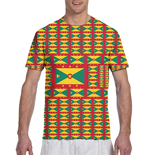 Men tee Shirts Funny Colourful Grenada Flag Short Sleeve T-Shirts Crew Neck T Shirt