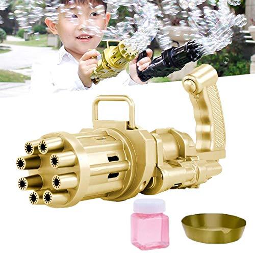 FTIK Blasenmaschine Kinder, Tiktok Spielzeug,Seifenblasen Maschine und Seifenblasenpistole,Gatling Bubble Machine,Bubble Blower Machine Spielzeug Bubble Party Supplies für Sommer (NAUXIU) Gold