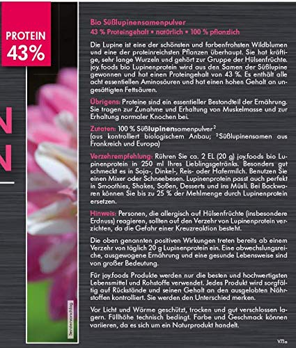 joy.foods Bio Lupinenprotein, pflanzliche Eiweißquelle, vegan, 43% Eiweiß, 500 g