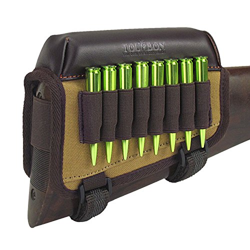 TOURBON Hunting Gun Buttstock Cheek Rest Pad Rifle Ammo Holder Right Hand - Canvas and Leather