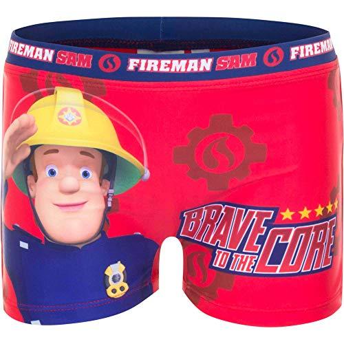 Feuerwehrmann-Sam Badehose Badeshorts Badepants, Farbe:Rot, Größe:98 (3 A)