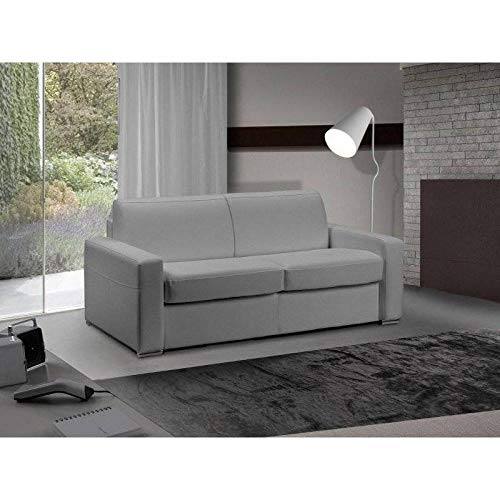 Canapé lit 3 Places Master Convertible Ouverture RAPIDO 140 cm Cuir Eco Gris Silex Matelas 18 CM Inclus