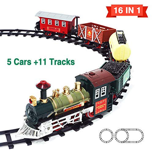 Kimiangel 2019 New Eddition 16 in 1 Train Sets with 11 Classic Electric Toy Tracks Sets + 5 Cars, Lights and Sounds Train Toys Gifts for Kids Boys Girls