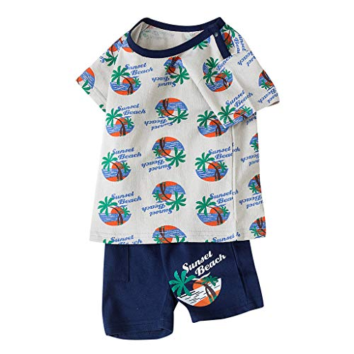 syeytx Baby-Outfit Zweiteiler SommerAnzug aus Baumwollmischung Baby Kinder Jungen Mädchen Kurzarm Brief Cartoon Print Tops Shorts Outfits Set