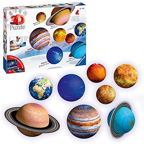 Ravensburger 3D Puzzle 11668 - Planetensystem für Kinder ab 7 Jahren - 8 Puzzleball-Planeten als Sonnensystem Modell mit Poster - Modellbau ganz ohne Kleben