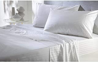 Cotton Bed Sheets 4 Piece Set 400 Thread Count 100% Extra Long Staple Luxurious & Hypoallergenic Bedding Hotel & Home Collection Deep Pocket 10-18 inches (Twin-XL,White Stripe)