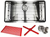Kingsman ARL-F3619 36 Inch Zero Radius Design 16 Gauge Undermount Single Bowl Stainless Steel Kitchen Sink Premium Package