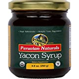Organic Yacon Syrup 8.8oz (250g) - Peruvian Naturals - All-Natural Syrup from Yacon Root, Low-Calorie Substitute for Sugar, Agave, Honey, Molasses, Maple & Corn Syrup, etc. Ideal for Weight Loss, Keto