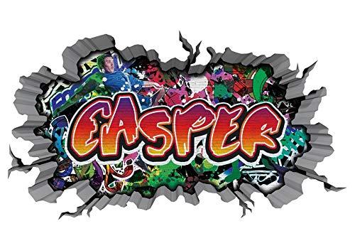 3D Wandtattoo Graffiti Wand Aufkleber Name CASPER Wanddurchbruch sticker Boy selbstklebend Wandsticker Jungenddeko Kinderzimmer 11MB323, Wandbild Größe F:ca. 162cmx97cm