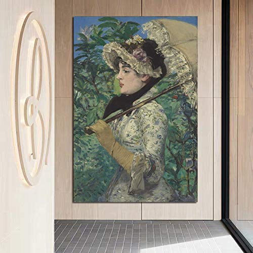 tzxdbh Edouard Manet Meisjes houden paraplu canvas schilderij poster afdrukken marmer muurkunst schilderij decoratieve afbeelding moderne wooncultuur 51X76 cm Geen frame.