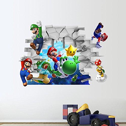 Fototapete Selbstklebend Tapete Wandtattoo Wandaufkleber Hot 3D Super Mario Wandaufkleber Durch Die Wand Stereo Dekorative Malerei