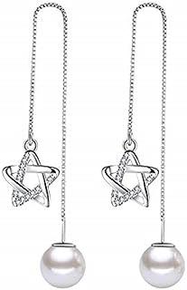 Elegant Lovely Silver Plated Dangling tassel ball Drop Earrings Women's Little Beads Pendant Fashion Jewellery with Gift box