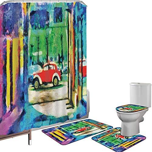 Set di tende per doccia Accessori il bagno tappeti Psichedelico Tappetino da bagno con tappetino per WC Passage colorato arte psichedelica auto retrò in movimento sulla strada nell'immagine della citt