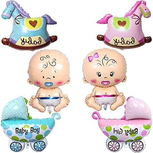 Liitata Gender Reveal Party Decoration 6 pz Boy Girl Party Decor gigante Palloncino a forma di cavallo a dondolo per passeggino palloncini per gravidanza Baby Shower Birthday