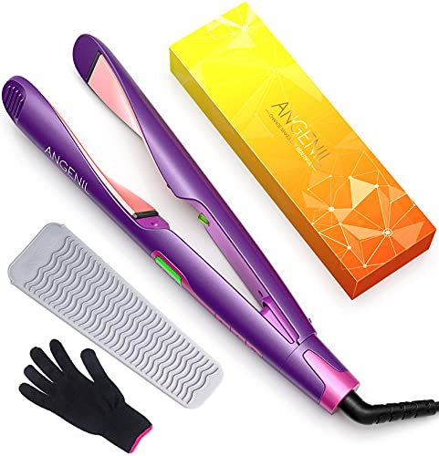 ANGENIL Flat Iron Curling Iron in One Professional Hair Straightener and Curler 2 in 1, Dual Voltage Straightening Irons with Adjustable Temp for All Hair Types Digital LCD Display