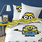 Les Minions Eyes - Juego de cama infantil con funda nórdica de 140 x 200 cm y funda de...