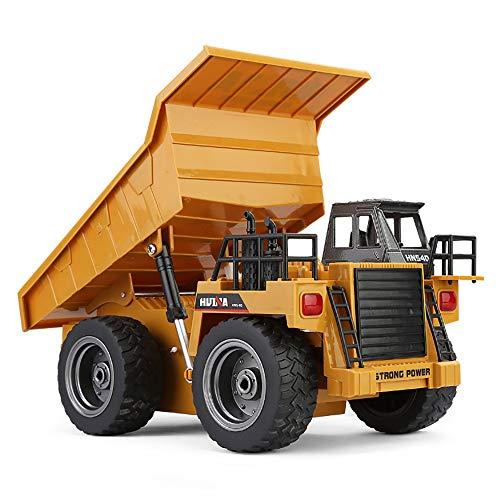 Camión volquete de control remoto de aleación de 6 canales, modelo de juguete, vehículo de ingeniería de fundición a presión de control remoto por radio de 2,4 GHz, con efectos de luz y sonido