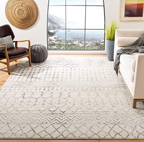 Safavieh Tulum Collection TUL270A Moroccan Boho Distressed Non-Shedding Living Room Bedroom Dining Home Office Area Rug, 5'3' x 7'6', Ivory / Grey