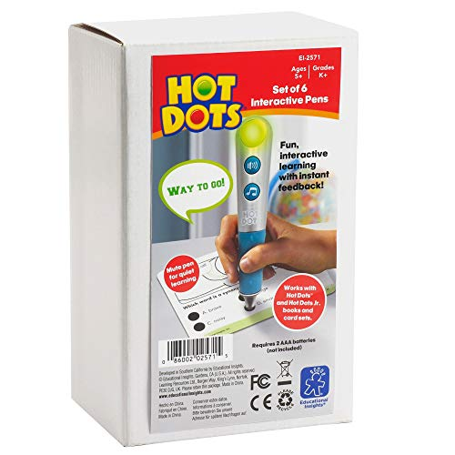 Educational Insights Hot Dots Talking Pen, Set of 6, Interactive Learning, Compatible with All Hot Dots Sets