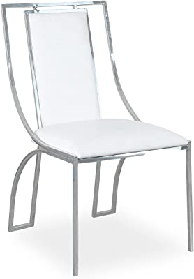 Menzzo Catarina Lot de chaises, Simili & P.U, Blanc/Gris, Taille Unique