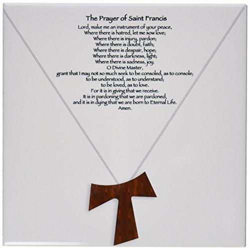 3dRose CT 110053_ 3The Prayer of Saint Francis auf einem Creme Beige Hintergrund mit eine einfache Holz Tau Kreuz auf eine Kette Keramik Fliesen, 20,3cm