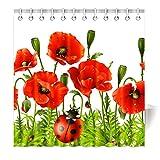 Violetpos Top Qualität Anti-Schimmel Duschvorhang Digitaldruck für Badezimmer Badvorhänge Rote Psychedelische Mohnblume Roter Käfer Marienkäfer 180 x 200 cm