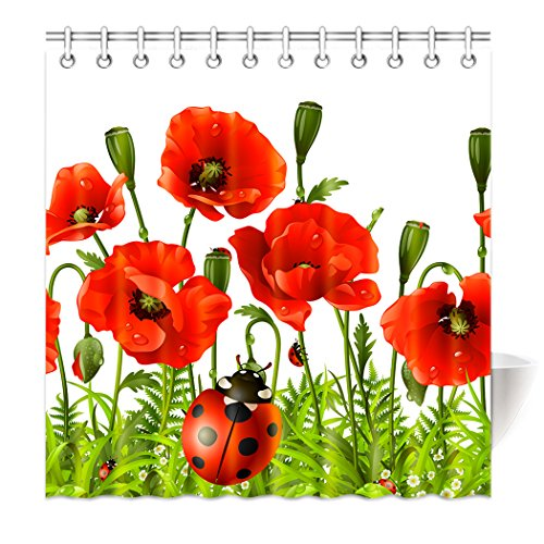 Violetpos Top Qualität Anti-Schimmel Duschvorhang Digitaldruck für Badezimmer Badvorhänge Rote Psychedelische Mohnblume Roter Käfer Marienkäfer 120 x 180 cm