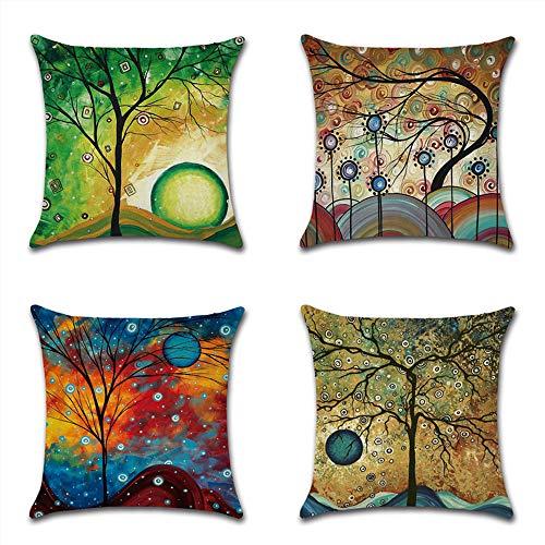HZDHCLH 4er Set Kissenbezug kissenhülle 45 x 45 cm aus Baumwolle und Leinen Kissenbezüge für Sofa Gartenbett outdoor Sofakissen wohnzimmer (Abstrakter Baum 1)