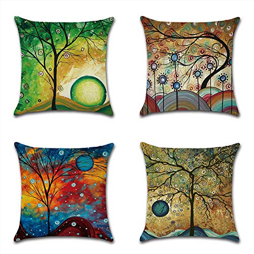 HZDHCLH Set of 4 pillow cover Cotton and Linen Pillow case Cushion Covers for Sofa outdoor garden bed couch cushions 45 x 45 cm Abstract Tree 1