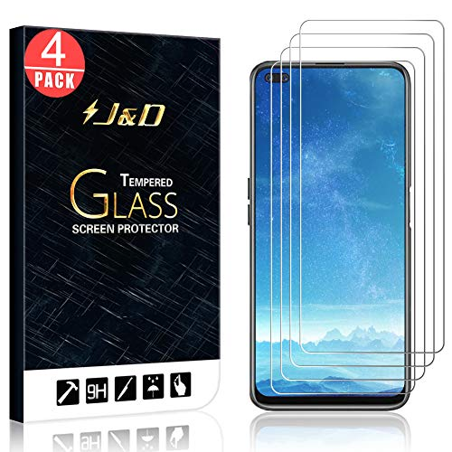 J&D Compatible for Realme 6 PRO Protective Film, 4 Packs [Tempered Glass] [Not Full Coverage] HD Ballistic Clear Glass Screen Protector for Realme 6 PRO
