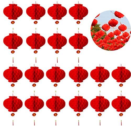 Bageek 20pcs 2021 Año Nuevo Linterna Decorativa Festival Chino Linterna Festival De Primavera Decoraciones para La Oficina En Casa Año Nuevo Chino 2021 Linternas Rojas