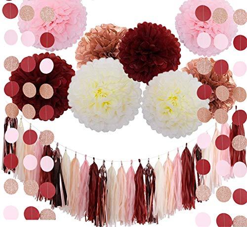 Fonder Mols Bachelorette Party Decorations Burgundy Glitter Rose Gold Blush Pink Ivory Tissue Paper Flowers Tassel Garland Wedding Bridal Shower Maroon Party Decorations (39pcs)