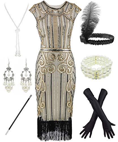FUNDAISY Frauen Flapper Kleider 1920er Jahre Pailletten Art Deco Gatsby Cocktailkleid