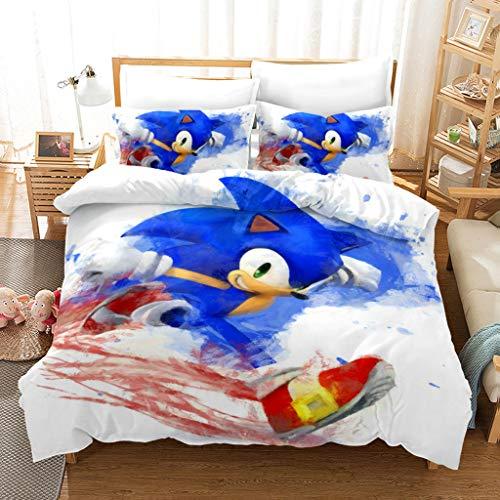 Sonic 3 Piezas De Ropa De Cama para El Hogar, Adecuada para Adolescentes Y Fanáticos del Anime, Personajes De Dibujos Animados 100% Microfibra, 1 Funda De Edredón Y 2 Fundas De Almohada,210 * 210cm