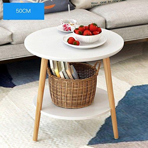 LTM-MPZ massief hout ronde tafel moderne hoek salontafel woonkamer bank zijtafel 50 * 40 * 49cm