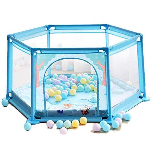 ZTMN Baby Fence Safety Playpen Hexagonal Children's Fence, Respirable Ball Pool Children's Activity Center (Color: Blue)