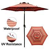 Abba Patio 9 ft Patio Umbrella Outdoor Market Table Umbrella with Push Button Tilt and Crank for Garden, Lawn, Deck, Backyard & Pool, Red Striped