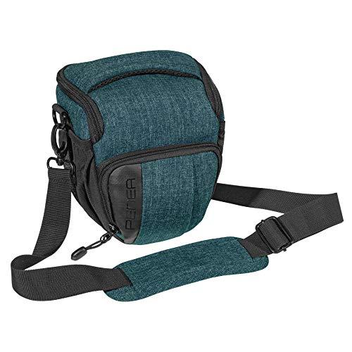 PEDEA DSLR-Kameratasche Fashion Fototasche für Spiegelreflexkameras mit wasserdichtem Regenschutz, Tragegurt und Zubehörfächern (Größe M, Petrol)