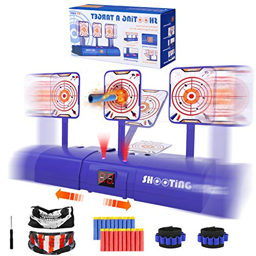 Electronic Shooting Target for Nerf Gun Digital Scoring Auto Reset Target with Refill Darts Tactical Masks and Wrist Bands for Nerf Guns Target Practice Gift for 4 5 6 7 8 Years Old Boys Girl Kids