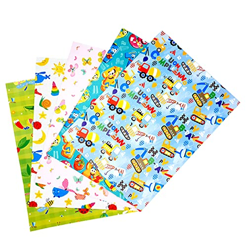ARCA Carta da Regalo per Confezionamento Regali 5 Fogli 100x 70 cm 100% Carta Disegni per i Bambini (Festa 5)