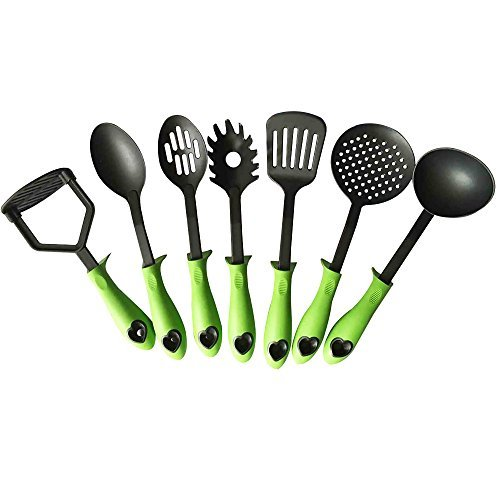 AA Quality Products Premium Kitchen Utensil Set: 7-Piece Ladle, Skimmer, Slotted Spoon, Spoon, Spatula, Pasta Server, and Masher with Built-in Stands