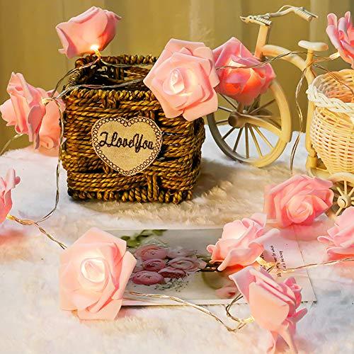 Mobxpar Ghirlanda di 20 luci a LED a forma di rose, alimentate a batteria, luci a LED artificiali, 20 fiori, decorazione romantica per la stanza (rosa)