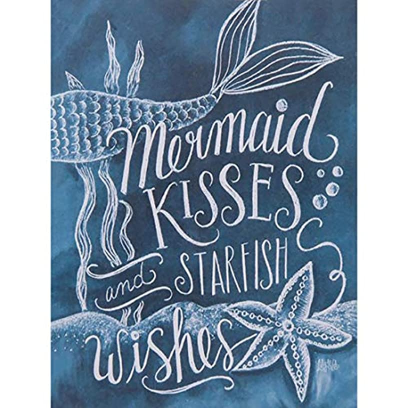 DIY 5D Diamond Painting by Number Kits, Crystal Rhinestone Embroidery Paint with Diamonds, Full Drill Canvas Art Picture for Home Wall Decor(Kiss Mermaind-Blue-1, 11.81x15.74in)