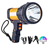 Rechargeable Flashlight 7000 Lumens Super Bright Spotlight 6600 mAh Long-Lasting Rechargeable Handheld Hunting Searchlight with USB Output Function IPX4 Waterproof High Lumen Handheld Marine Spotlight