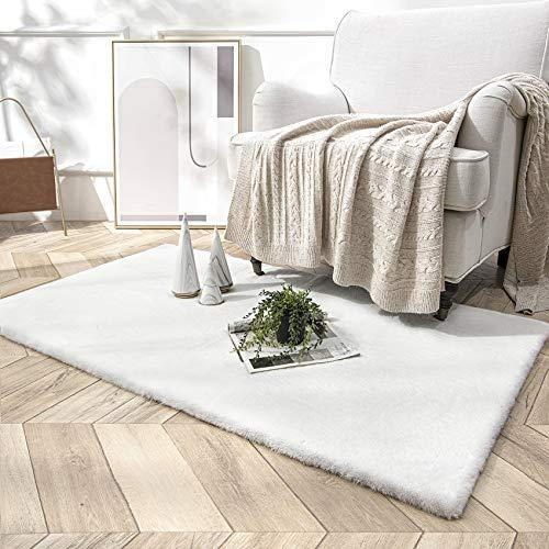 HETOOSHI Weicher Kunstkaninchenfell-Teppich,Plüsch Teppich,Decke aus Kunstfell Geeignet für Wohnzimmer Teppiche Flauschig Fell Optik Gemütliches Schaffell Bettvorleger Sofa Matte (Weiß, 80 x 160 cm)
