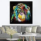KWzEQ Colorido Pensamiento Mono Pared Arte Lienzo Pop Art Poster decoración Animal Salvaje,Pintura sin Marco,75x75cm