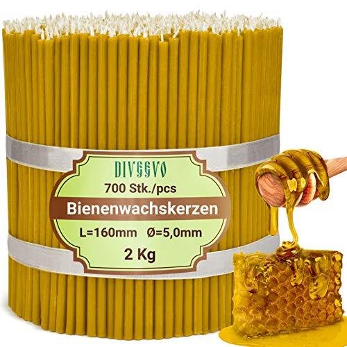 Diveevo - Candele di cera d'api, 700 pezzi, lunghezza 16 cm, diametro 5,0 mm, durata 30 min, naturale, senza gocciolamento, senza fumo, qualità Chiesa sottile, in cera d'api n°140